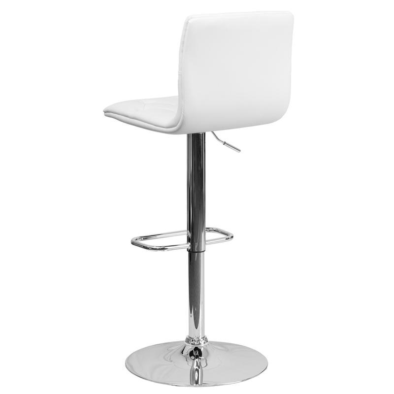 Contemporary Button Tufted White Vinyl Adjustable Height Barstool with Chrome Base. Picture 3