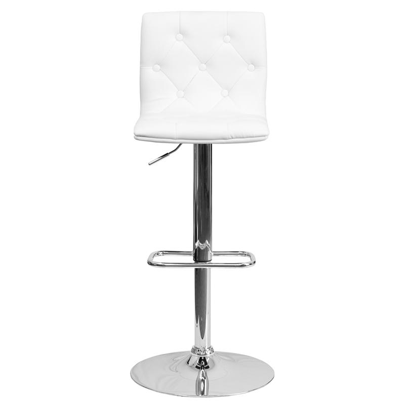 Contemporary Button Tufted White Vinyl Adjustable Height Barstool with Chrome Base. Picture 4