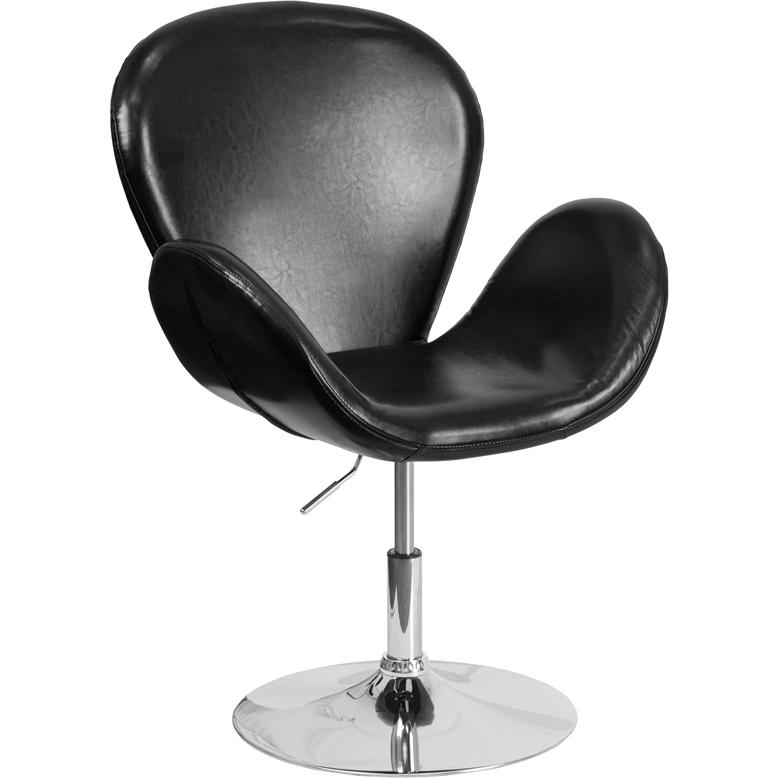 HERCULES Trestron Series Black LeatherSoft Side Reception Chair with Adjustable Height Seat. Picture 1