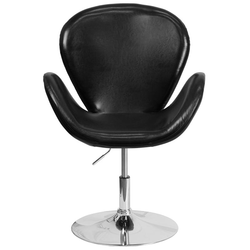 HERCULES Trestron Series Black LeatherSoft Side Reception Chair with Adjustable Height Seat. Picture 4