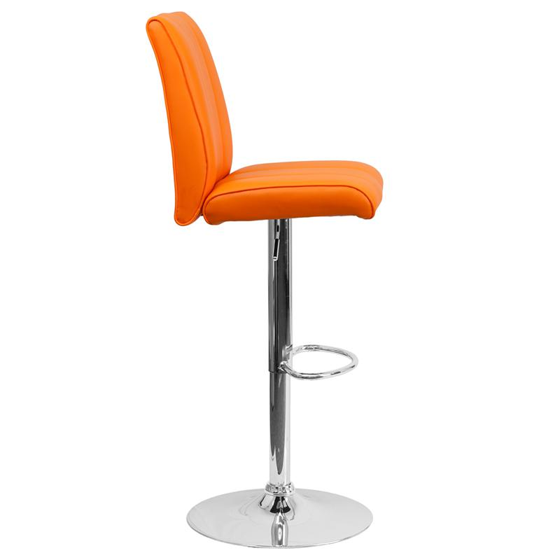 Contemporary Orange Vinyl Adjustable Height Barstool with  : ch 122090 org gginset1 from www.bisonoffice.com size 800 x 800 jpeg 71kB