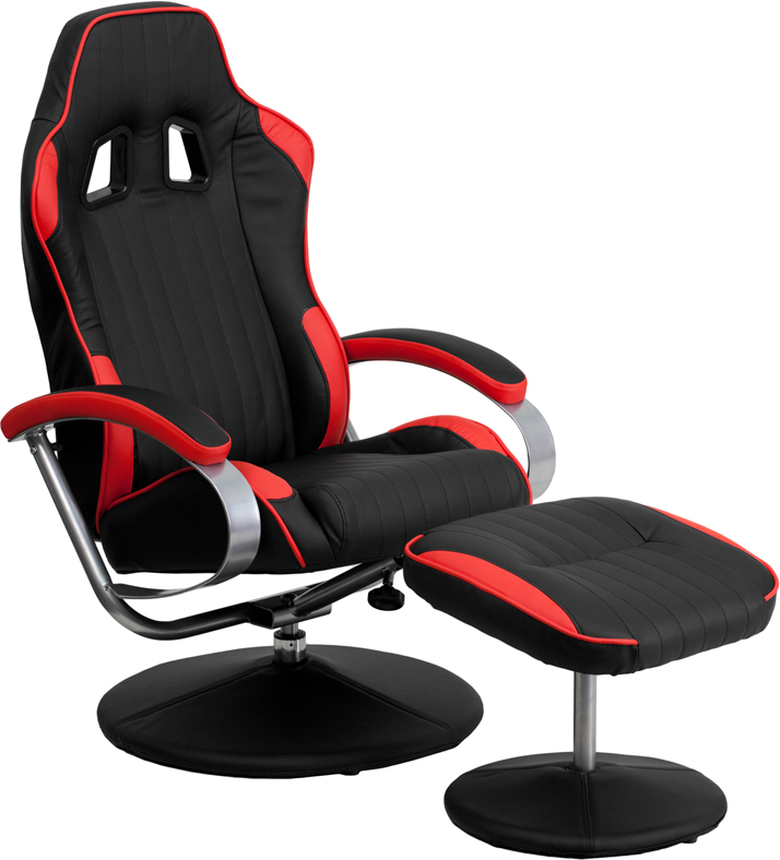 Racing Style Black And Red Vinyl Recliner And Ottoman