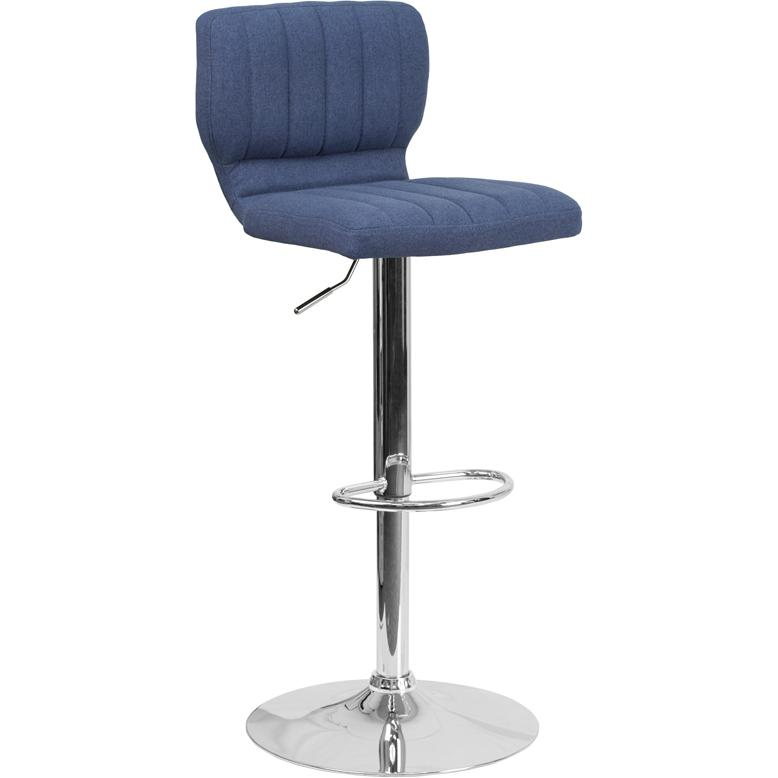 Contemporary Blue Fabric Adjustable Height Barstool with Vertical Stitch Back and Chrome Base. Picture 1