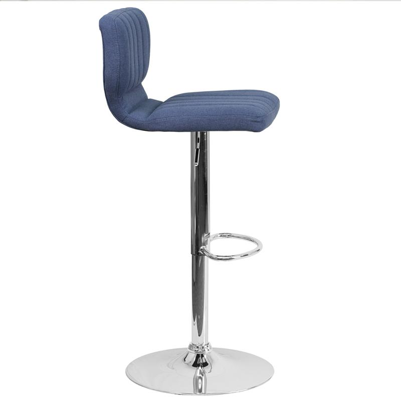 Contemporary Blue Fabric Adjustable Height Barstool with Vertical Stitch Back and Chrome Base. Picture 2
