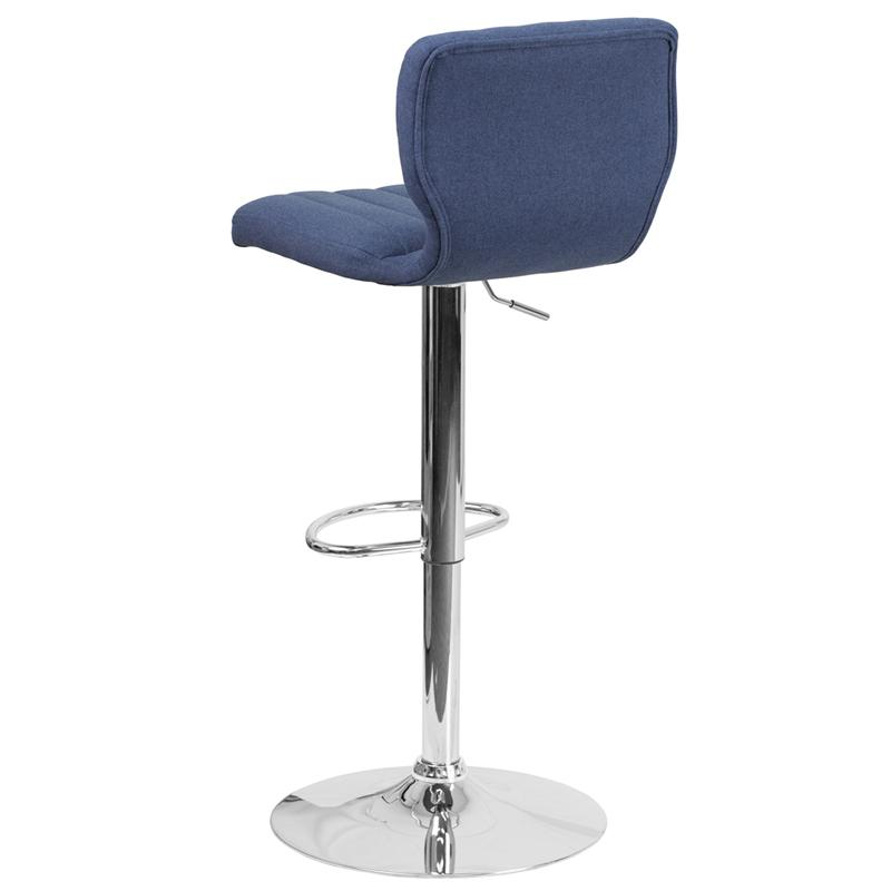 Contemporary Blue Fabric Adjustable Height Barstool with Vertical Stitch Back and Chrome Base. Picture 3