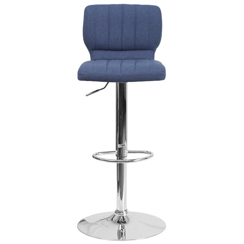 Contemporary Blue Fabric Adjustable Height Barstool with Vertical Stitch Back and Chrome Base. Picture 4