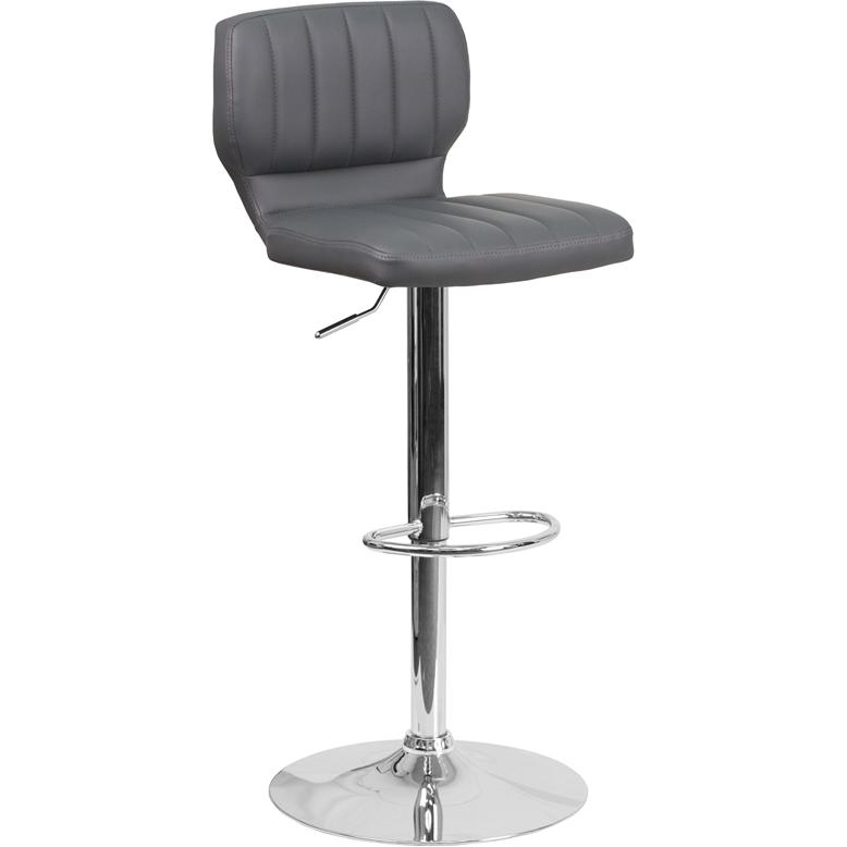 Contemporary Gray Vinyl Adjustable Height Barstool with Vertical Stitch Back and Chrome Base. Picture 1