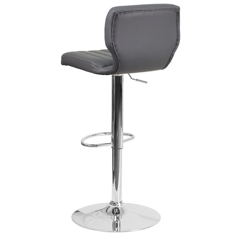 Contemporary Gray Vinyl Adjustable Height Barstool with Vertical Stitch Back and Chrome Base. Picture 3