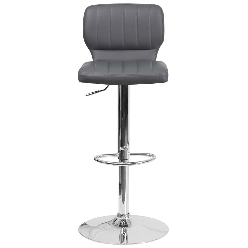 Contemporary Gray Vinyl Adjustable Height Barstool with Vertical Stitch Back and Chrome Base. Picture 4