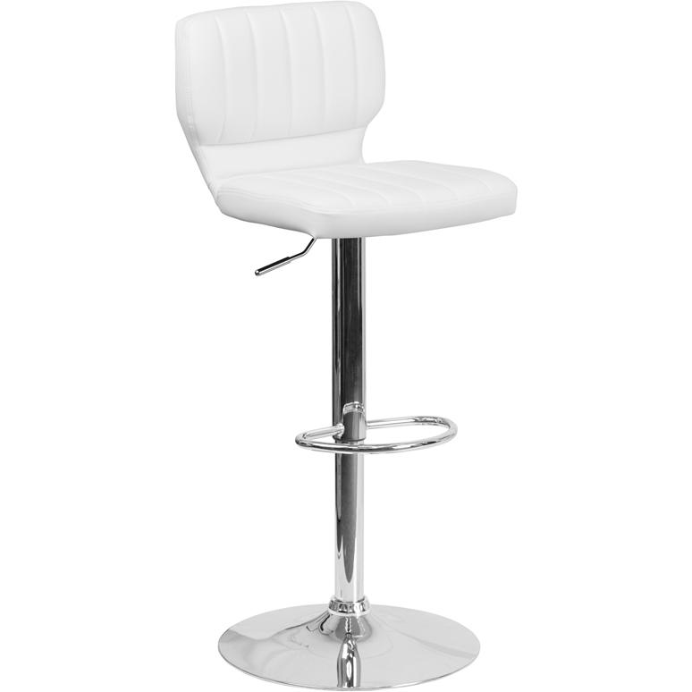 Contemporary White Vinyl Adjustable Height Barstool with Vertical Stitch Back and Chrome Base. Picture 1