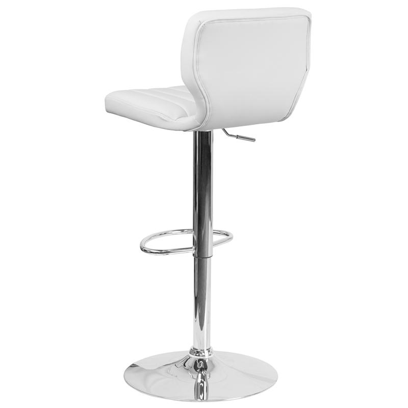 Contemporary White Vinyl Adjustable Height Barstool with Vertical Stitch Back and Chrome Base. Picture 3