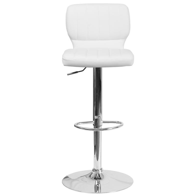 Contemporary White Vinyl Adjustable Height Barstool with Vertical Stitch Back and Chrome Base. Picture 4