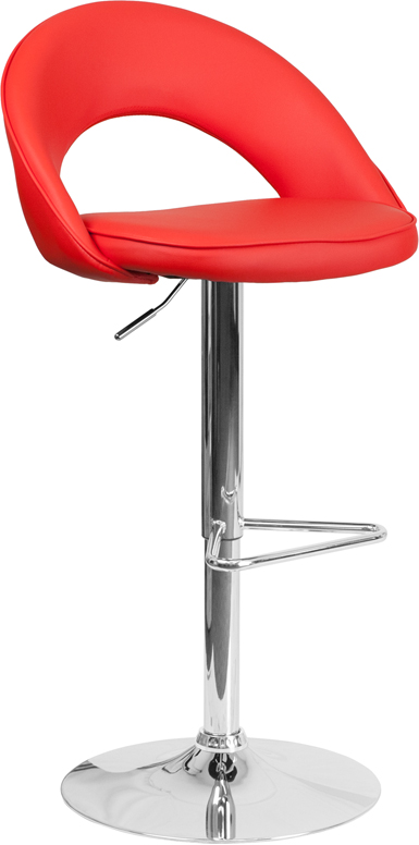 Contemporary Red Vinyl Rounded Back Adjustable Height