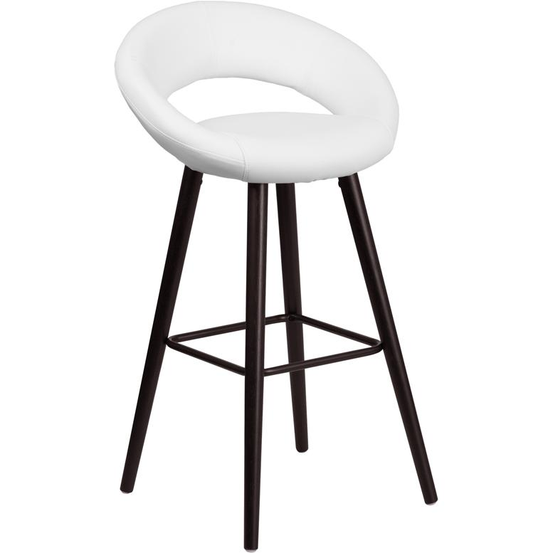Kelsey Series 29'' High Contemporary Cappuccino Wood Barstool in White Vinyl. Picture 1