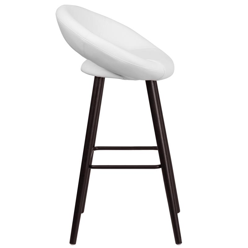 Kelsey Series 29'' High Contemporary Cappuccino Wood Barstool in White Vinyl. Picture 2