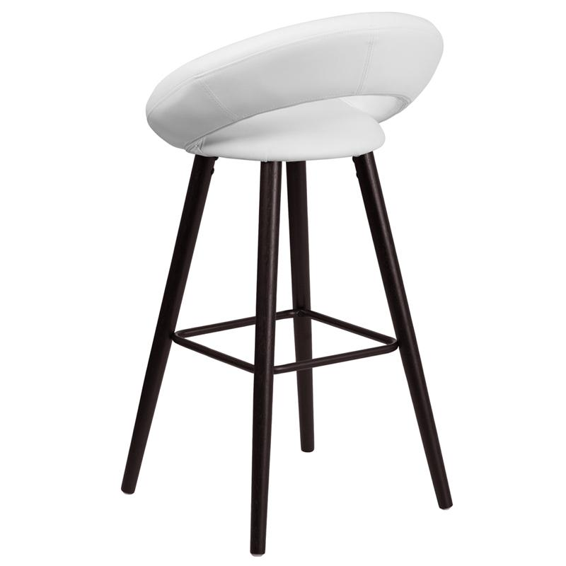 Kelsey Series 29'' High Contemporary Cappuccino Wood Barstool in White Vinyl. Picture 3