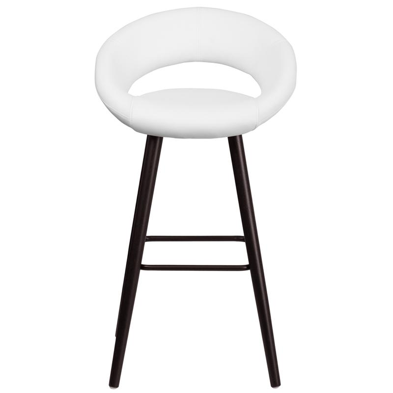 Kelsey Series 29'' High Contemporary Cappuccino Wood Barstool in White Vinyl. Picture 4