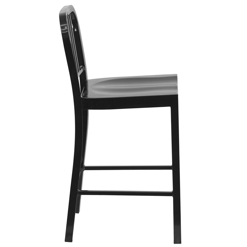24 High Black Metal Indoor Outdoor Counter Height Stool