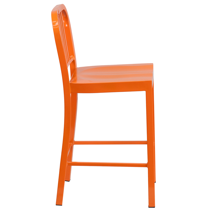 24 High Orange Metal Indoor Outdoor Counter Height Stool