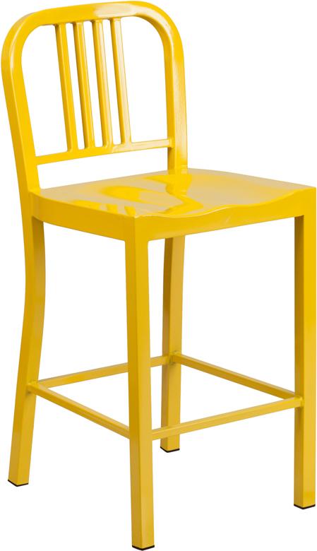 24 High Yellow Metal Indoor Outdoor Counter Height Stool