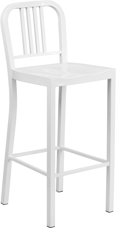 30 High White Metal Indoor Outdoor Barstool