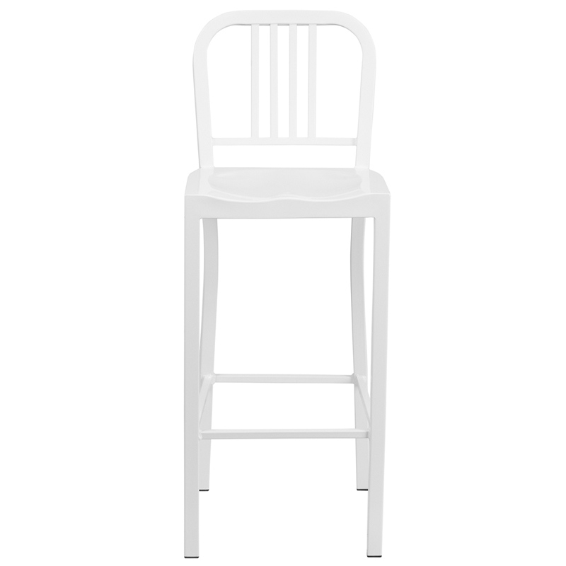30 High White Metal Indoor Outdoor Barstool