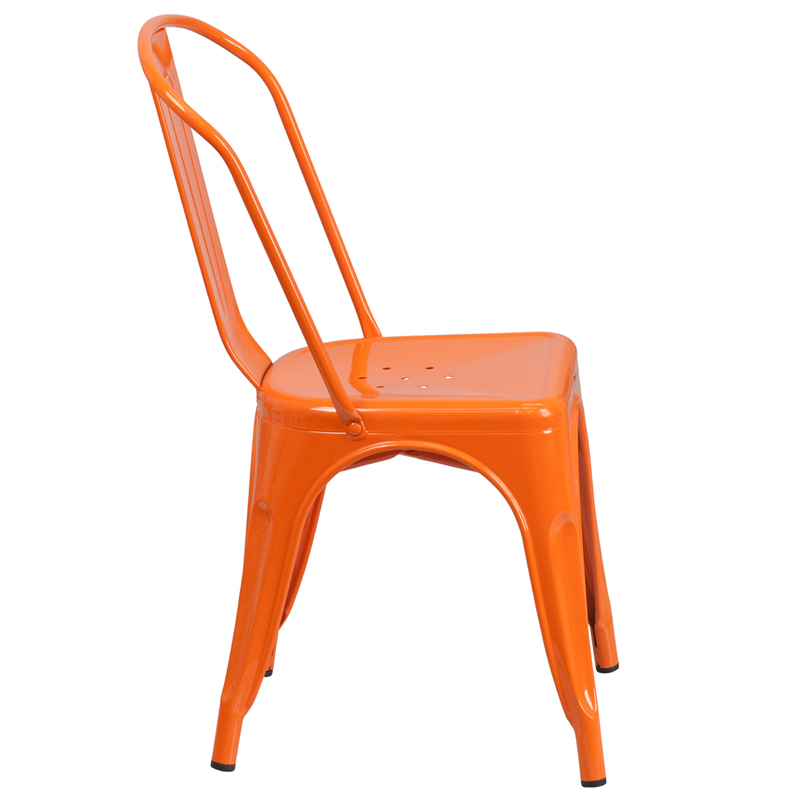 Orange Metal Indoor Outdoor Stackable Chair