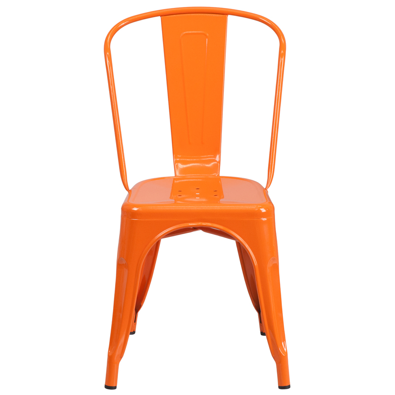 Orange Metal Indoor Outdoor Stackable Chair