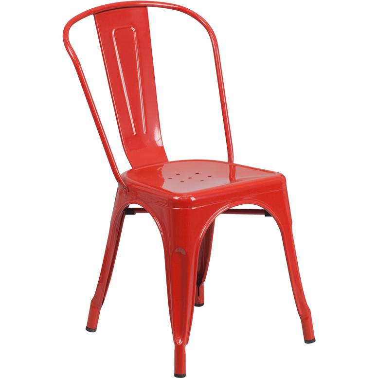 Red Metal Indoor Outdoor Stackable Chair