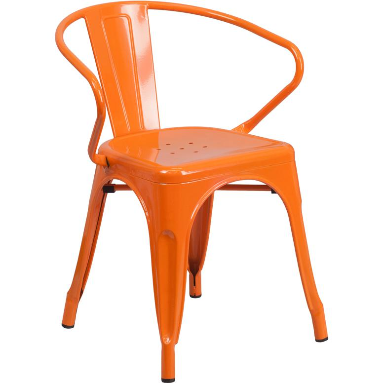 Orange Metal Indoor Outdoor Chair With Arms