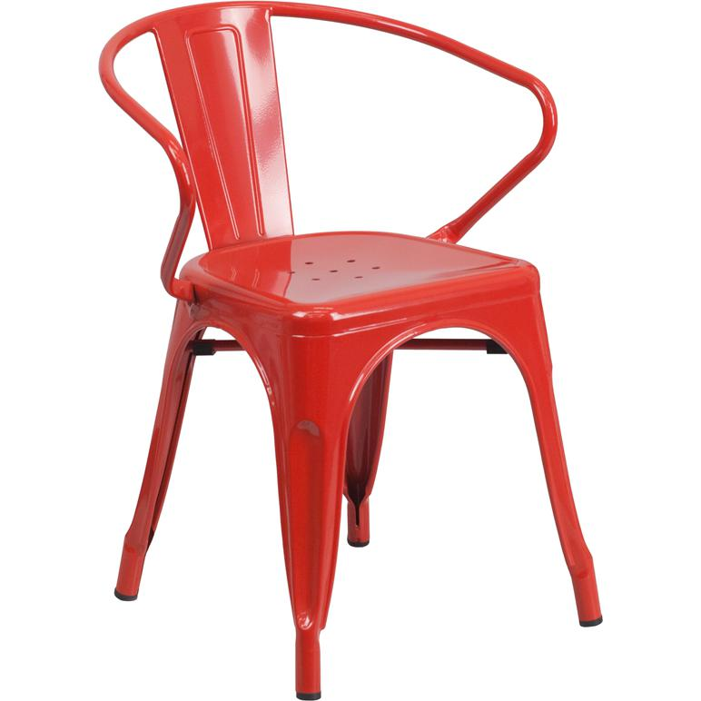 Red metal indoor outdoor chair with arms for Red metal patio furniture
