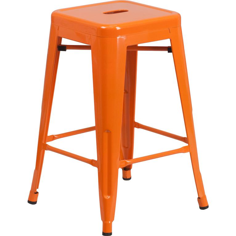 "Commercial Grade 24"" High Backless Orange Metal Indoor-Outdoor Counter Height Stool with Square Seat. Picture 1"