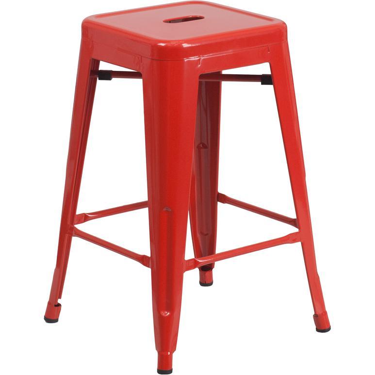 24 High Backless Red Metal Indoor Outdoor Counter Height