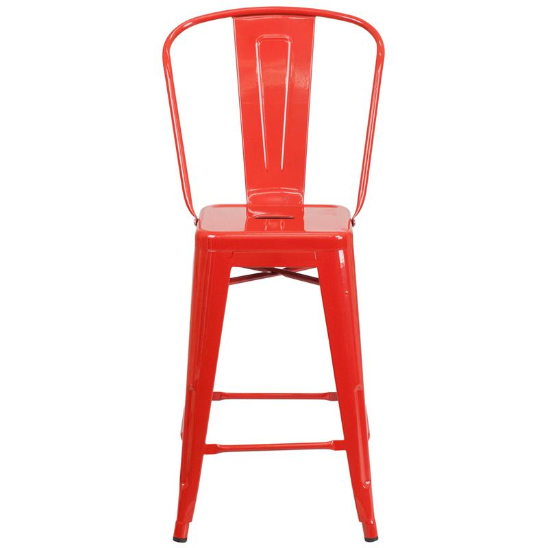 24 High Red Metal Indoor Outdoor Counter Height Stool