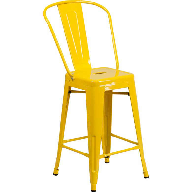 """Commercial Grade 24"""" High Yellow Metal Indoor-Outdoor Counter Height Stool with Removable Back. Picture 1"""
