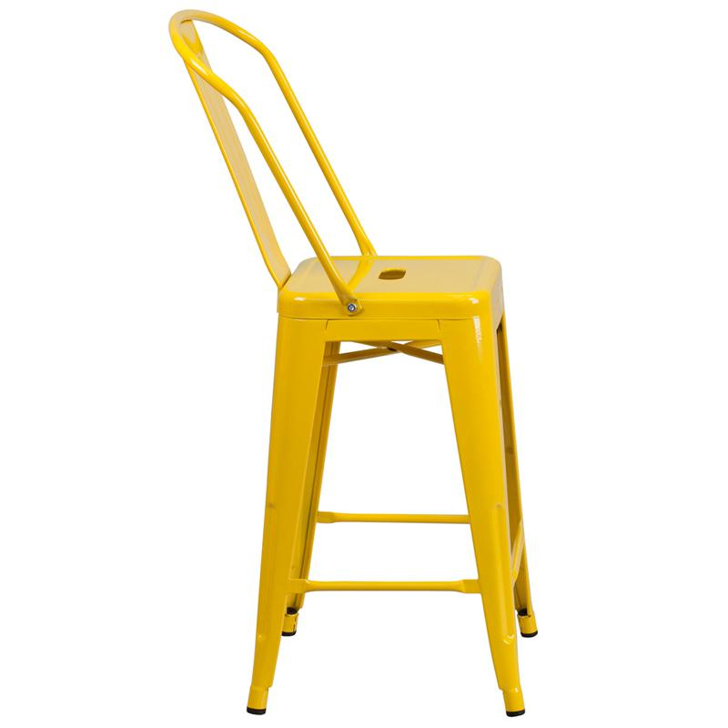 """Commercial Grade 24"""" High Yellow Metal Indoor-Outdoor Counter Height Stool with Removable Back. Picture 2"""