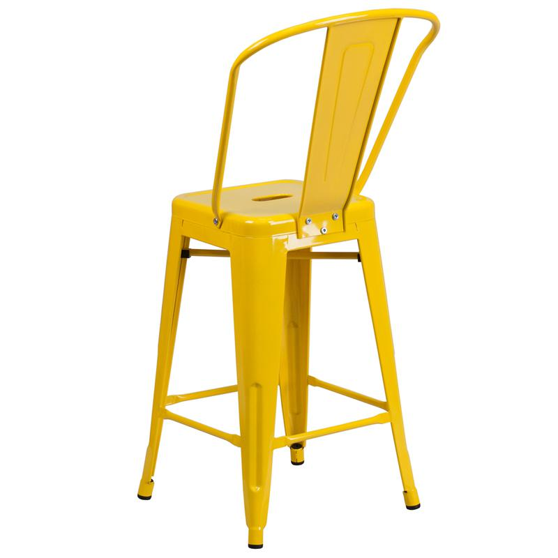 """Commercial Grade 24"""" High Yellow Metal Indoor-Outdoor Counter Height Stool with Removable Back. Picture 3"""