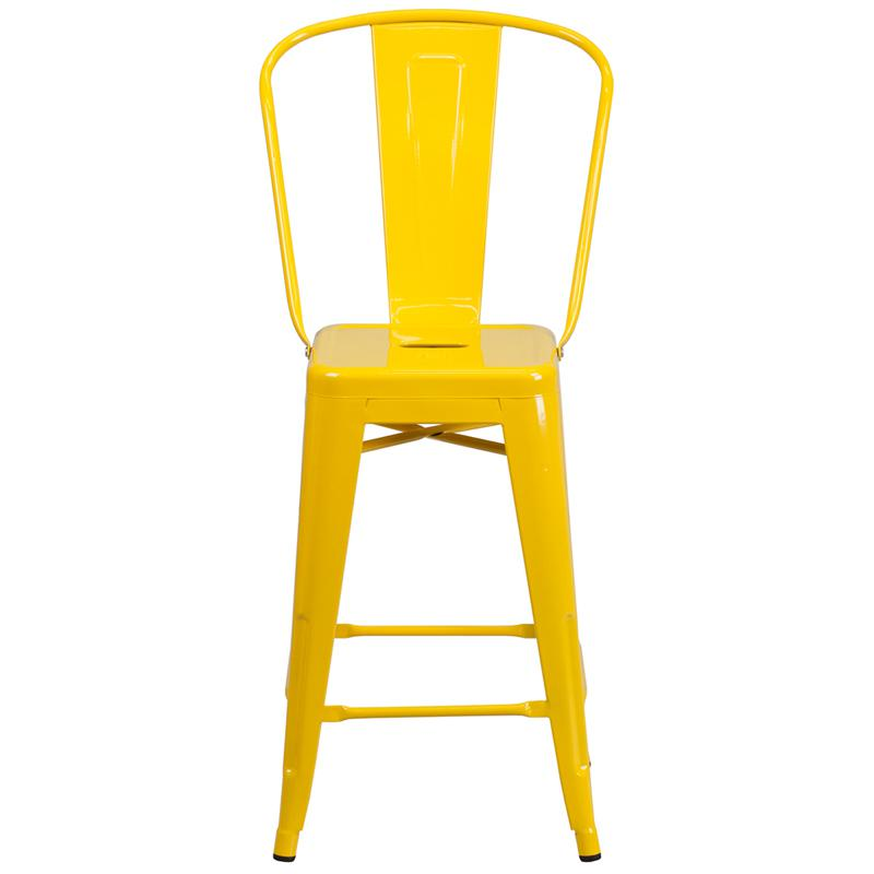 """Commercial Grade 24"""" High Yellow Metal Indoor-Outdoor Counter Height Stool with Removable Back. Picture 4"""