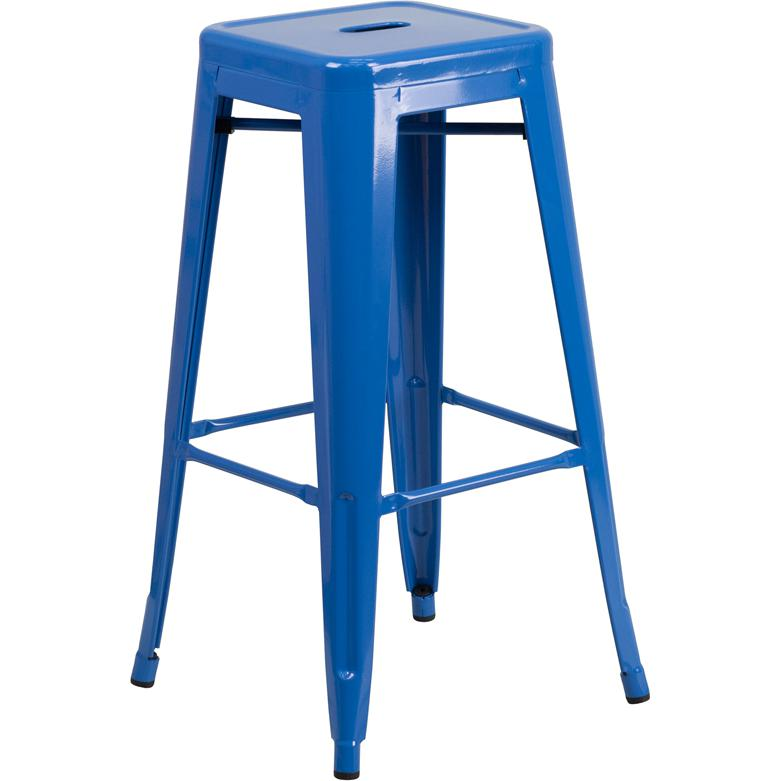 """Commercial Grade 30"""" High Backless Blue Metal Indoor-Outdoor Barstool with Square Seat. Picture 1"""