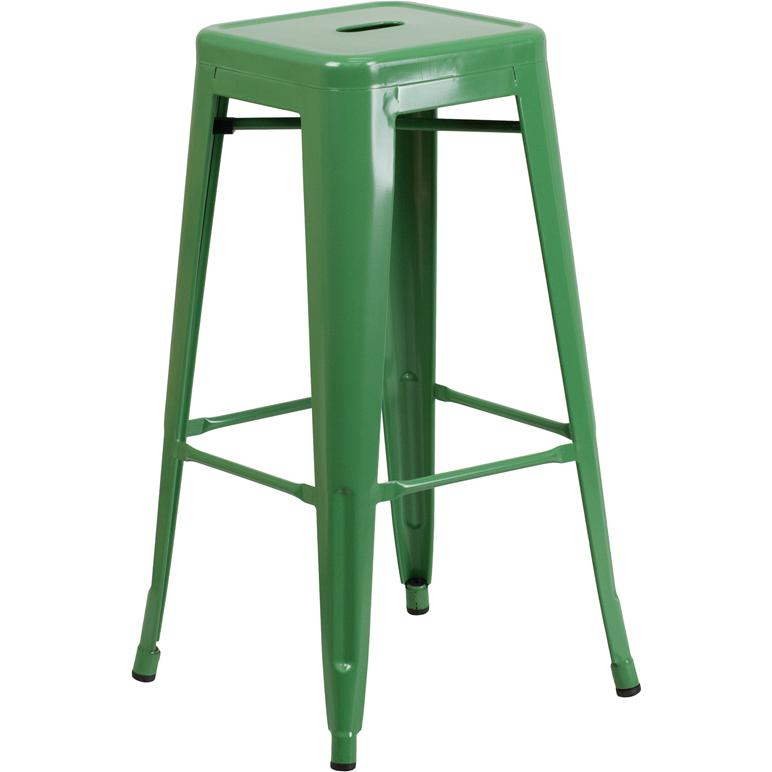 "Commercial Grade 30"" High Backless Green Metal Indoor-Outdoor Barstool with Square Seat. Picture 1"