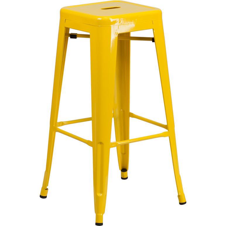 30 High Backless Yellow Metal Indoor Outdoor Barstool