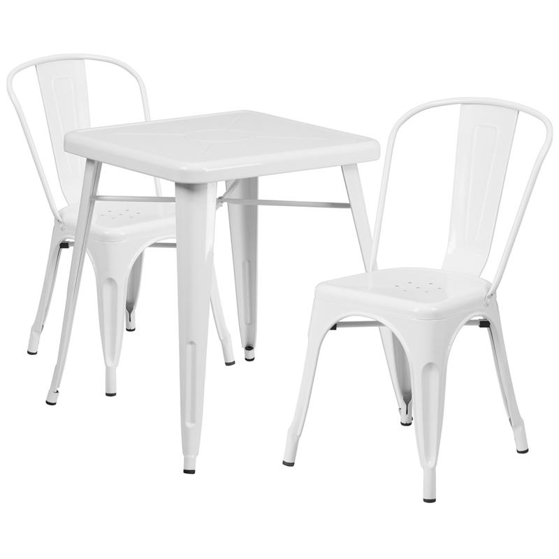 """Commercial Grade 23.75"""" Square White Metal Indoor-Outdoor Table Set with 2 Stack Chairs. Picture 1"""