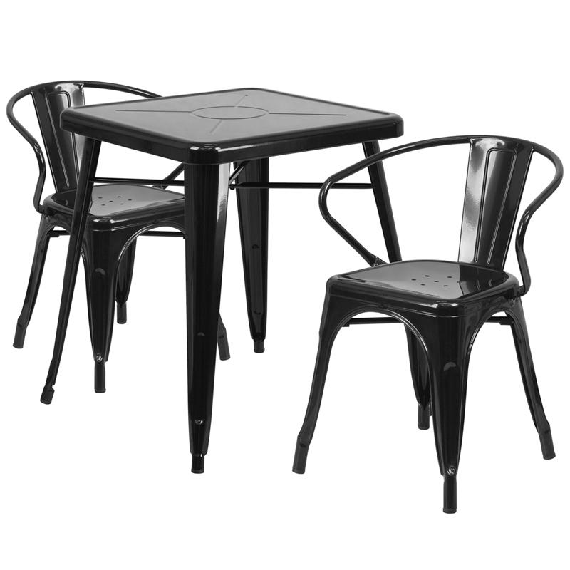 23.75'' Square Black Metal Indoor-Outdoor Table Set with 2 Arm Chairs. Picture 1