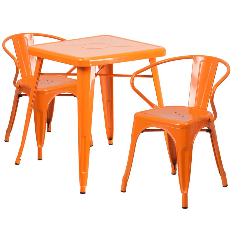 23.75'' Square Orange Metal Indoor-Outdoor Table Set with 2 Arm Chairs. Picture 1