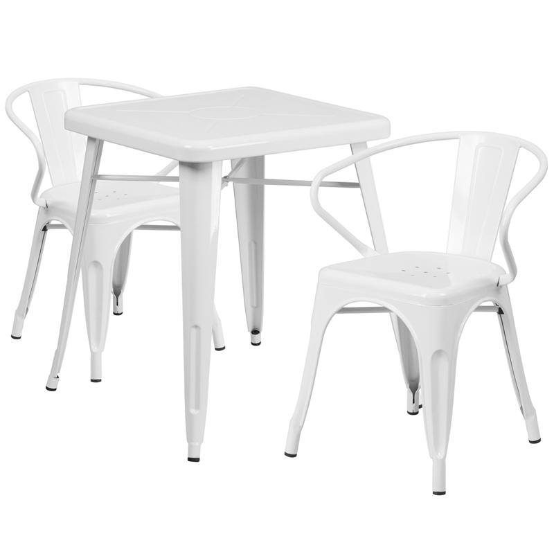 23.75'' Square White Metal Indoor-Outdoor Table Set with 2 Arm Chairs. Picture 1