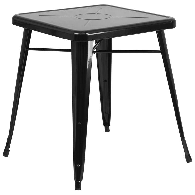 """Commercial Grade 23.75"""" Square Black Metal Indoor-Outdoor Table. Picture 1"""