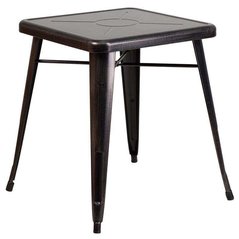 """Commercial Grade 23.75"""" Square Black-Antique Gold Metal Indoor-Outdoor Table. Picture 1"""