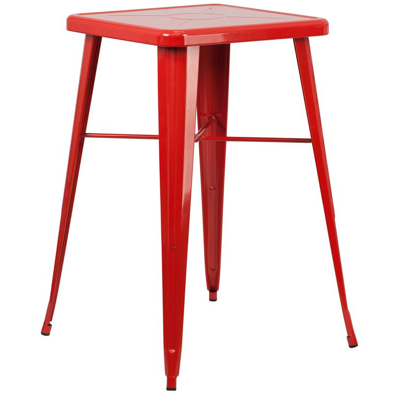 23.75'' Square Red Metal Indoor-Outdoor Bar Height Table. Picture 1
