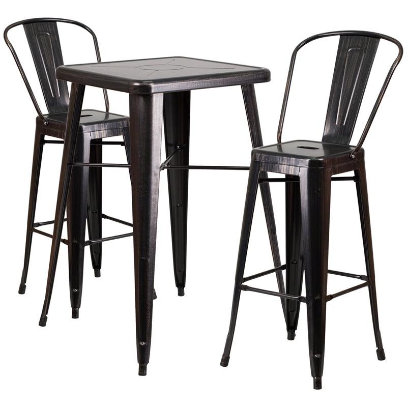 Outstanding 23 75 Square Black Antique Gold Metal Indoor Outdoor Bar Table Set With 2 Stools With Backs Download Free Architecture Designs Rallybritishbridgeorg