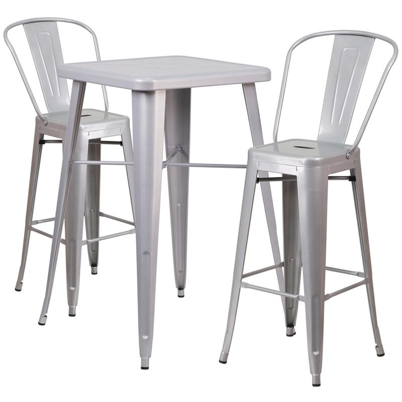 23 75 Square Silver Metal Indoor Outdoor Bar Table Set With 2 Stools Backs